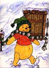 John Ward  Pooh bear wearing a John Ward scarf (134 kbytes) - Click to enlarge