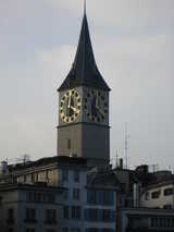 Zurich, Clock Tower (42 kbytes) - Click to enlarge